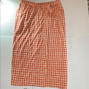 Diane von Furstenberg Orange Wht Silk Skirt Sz 10